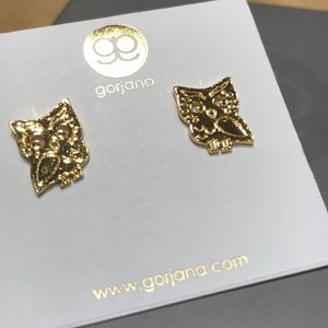 NWT Gorjana Wise Owl gold stud earrings
